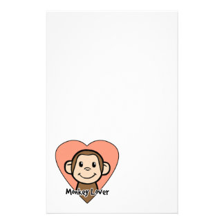 Cute Cartoon Clip Art Smile Monkey Love in Heart Stationery