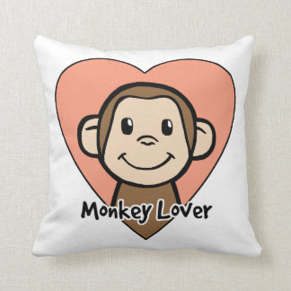 Cute Cartoon Clip Art Smile Monkey Love in Heart Throw Pillow