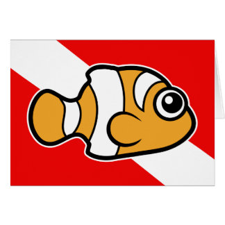 Cute Cartoon Clownfish Dive Flag Card