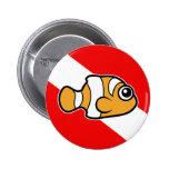 Cute Cartoon Clownfish Dive Flag Pinback Buttons