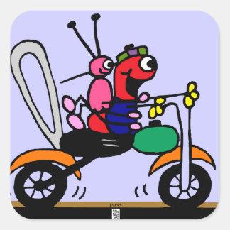 Cute cartoon comic strip motorcycle sticker