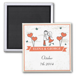 Cute Cartoon Couple Wedding magnet