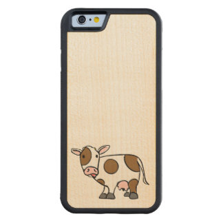 Cute Cartoon Cow Brown and White Carved Maple iPhone 6 Bumper Case