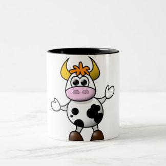 Cute cartoon Cow Two-Tone Coffee Mug