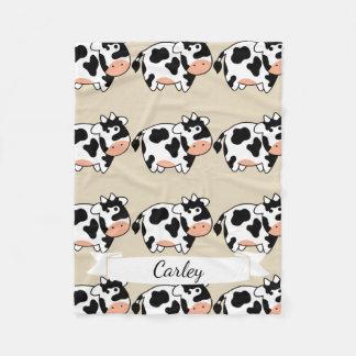 Cute Cartoon Cow Pattern & Name in Script Fleece Blanket