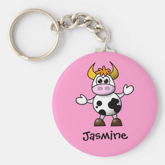 Cute Cartoon Cow Personalised Name Gift Basic Round Button Key Ring