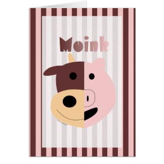 Cute cartoon cow + pig = Moink card