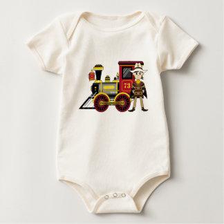 Cute Cartoon Cowboy and Train Baby Bodysuit