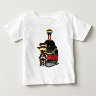 Cute Cartoon Cowboy Cowgirl and Train Baby T-Shirt