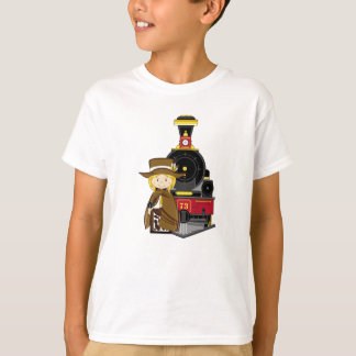 Cute Cartoon Cowgirl Cowboy and Train T-Shirt