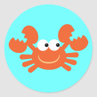 Cute cartoon crab blue stickers for kids