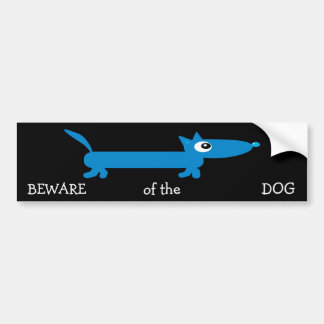Cute cartoon Dachshund BEWARE of the DOG Bumper Sticker