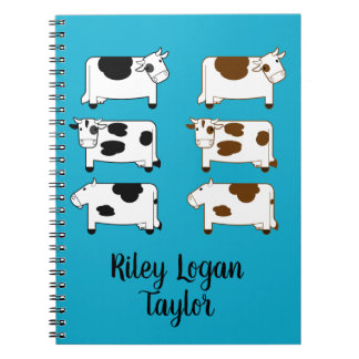 Cute Cartoon Dairy Cows Personalized Notebooks