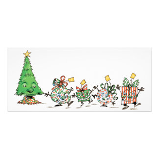 Cute Cartoon Dancing Christmas Presents and Tree Customized Rack Card