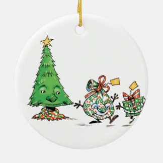 Cute Cartoon Dancing Christmas Presents and Tree Round Ceramic Decoration