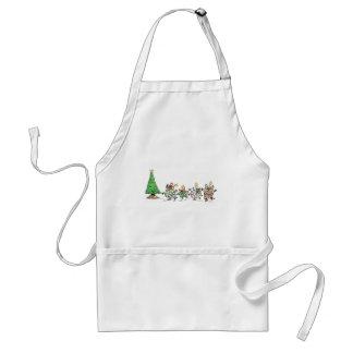 Cute Cartoon Dancing Christmas Presents and Tree Standard Apron