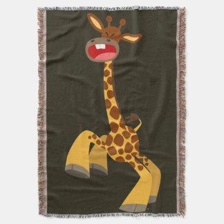 Cute Cartoon Dancing Giraffe Throw Blanket