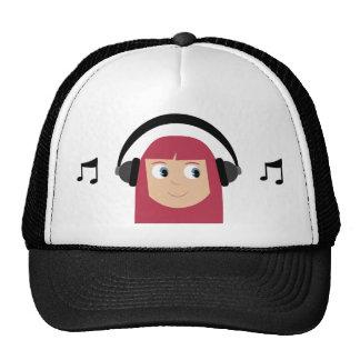 Cute Cartoon Dee Jay Girl With Headphones Cap