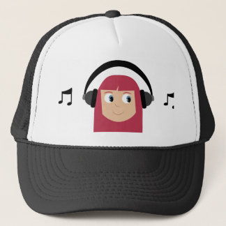 Cute Cartoon Dee Jay Girl With Headphones Trucker Hat