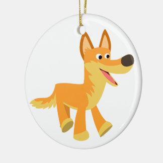 Cute Cartoon Dingo Round Ceramic Decoration