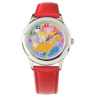 Cute Cartoon Dinosaur Flowers with custom Name Watch