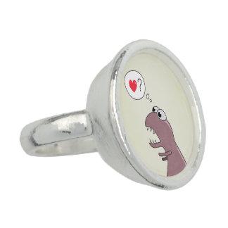 Cute Cartoon Dinosaur In Love Ring
