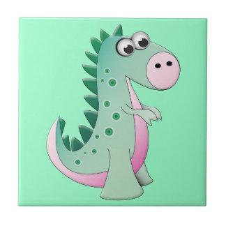 Cute Cartoon Dinosaur Small Square Tile
