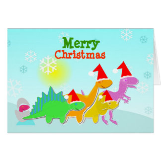 Cute Cartoon Dinosaurs Christmas Card