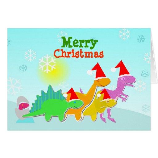Cute Cartoon Dinosaurs Christmas Card
