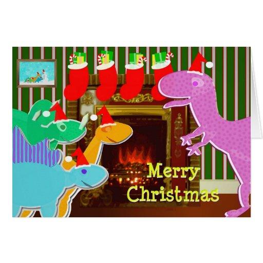 Cute Cartoon Dinosaurs Fireplace Christmas Card