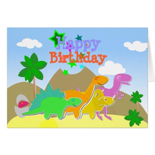 Cute Cartoon Dinosaurs Happy Birthday Card