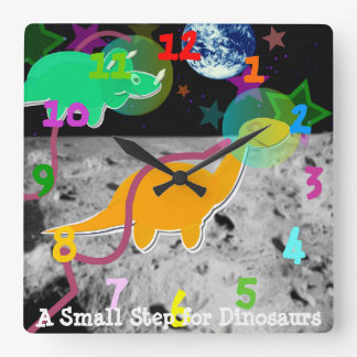 Cute Cartoon Dinosaurs on the Moon Square Wall Clock