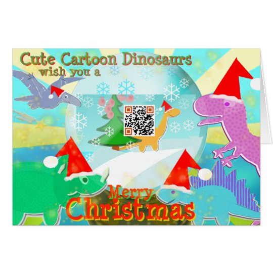 Cute Cartoon Dinosaurs wish You a Merry Christmas