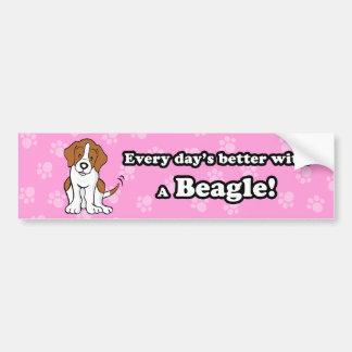 Cute Cartoon Dog Beagle Bumper Sticker