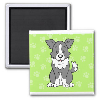 Cute Cartoon Dog Border Collie Magnet