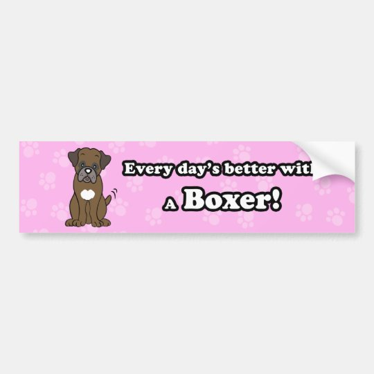 Cute Cartoon Dog Boxer Bumper Sticker