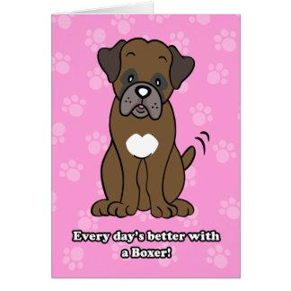 Cute Cartoon Dog Boxer Greeting Card