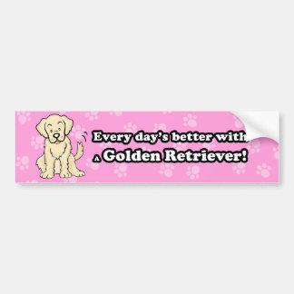 Cute Cartoon Dog Golden Retriever Bumper Sticker