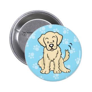 Cute Cartoon Dog Golden Retriever Button