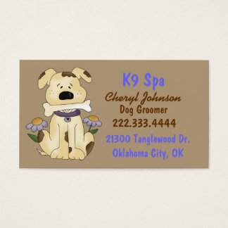 Cute Cartoon Dog Groomer Business Card