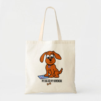 Cute Cartoon Dog Image on Tote Bag