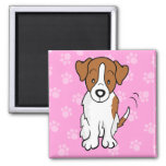Cute Cartoon Dog Jack Russell Square Magnet