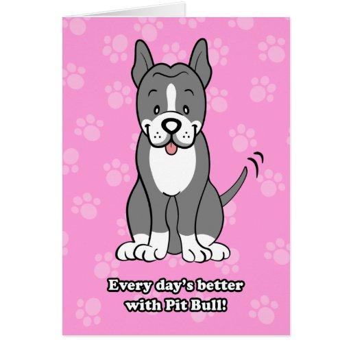 Cute Cartoon Dog Pitbull Greeting Card