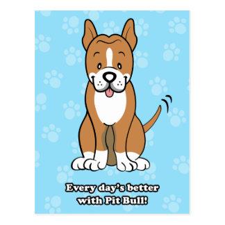 Cute Cartoon Dog Pitbull Postcard