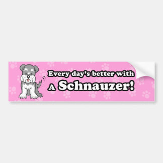 Cute Cartoon Dog Schnauzer Bumper Sticker
