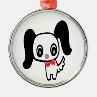 Cute Cartoon Dog Silver-Colored Round Decoration