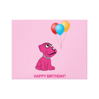 Cute Cartoon Dog with Balloons Happy Birthday Stretched Canvas Prints