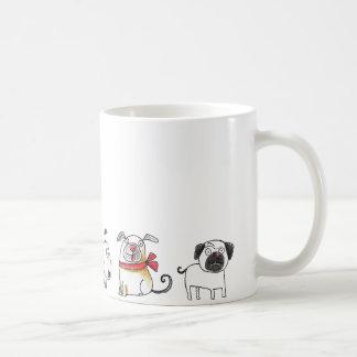 cute cartoon dogs basic white mug