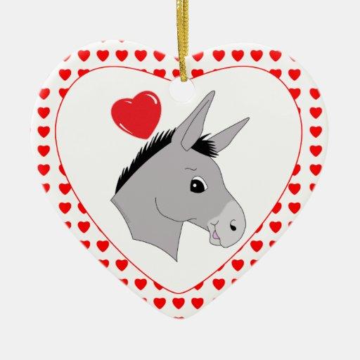 Cute cartoon donkey hearts ceramic heart decoration zazzle