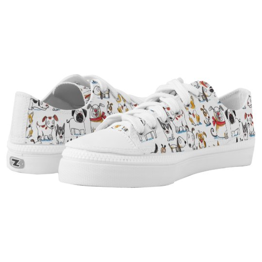 cute cartoon doodle dogs pattern low tops